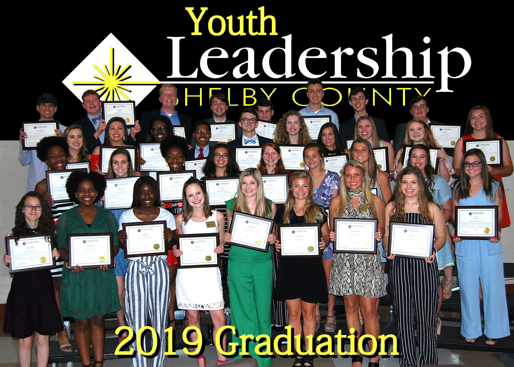 YLSC Group Photo with Diplomas 2019 Graduation Logo